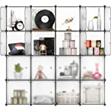 LANGRIA 16 Modular Shelving Storage Organizing Closet with Translucent Doors and Cube Design for Clothes, Shoes, Toys and Books (White)