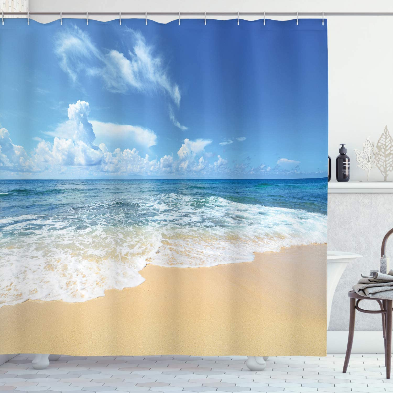 Amazon Com Ambesonne Ocean Shower Curtain Waves And Paradise Beach With Sky Sun Endless Summer Sea Coast View Tropic Print Cloth Fabric Bathroom Decor Set With Hooks 84 Long Extra Cream Blue Home