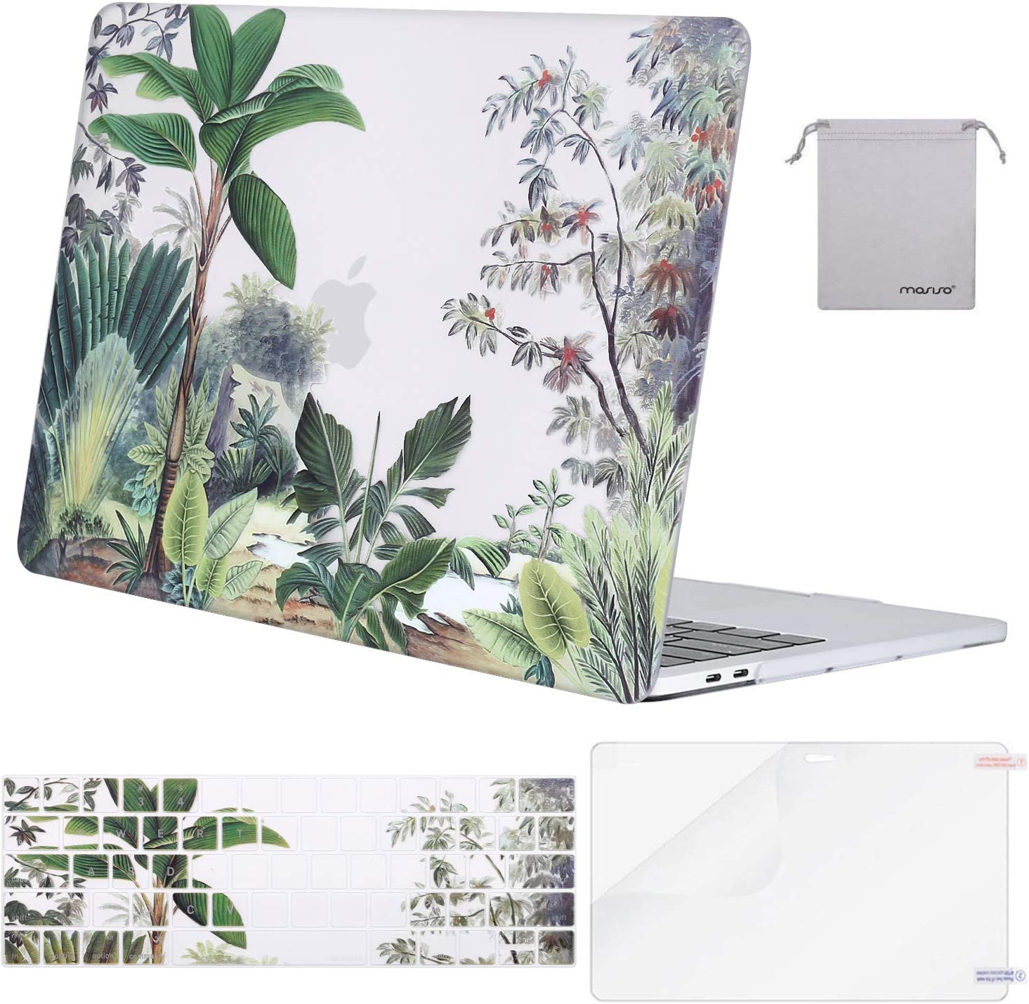 MOSISO Compatible with MacBook Pro 13 inch Case 2019 2018 2017 2016 Release A2159 A1989 A1706 A1708, Plastic Pattern Hard Shell Case&Keyboard Cover Skin&Screen Protector&Storage Bag, Tropical Flora