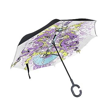 MALPLENA - Paraguas de Apertura automática de dragón púrpura Katana para Mujer, Hombre, Coche