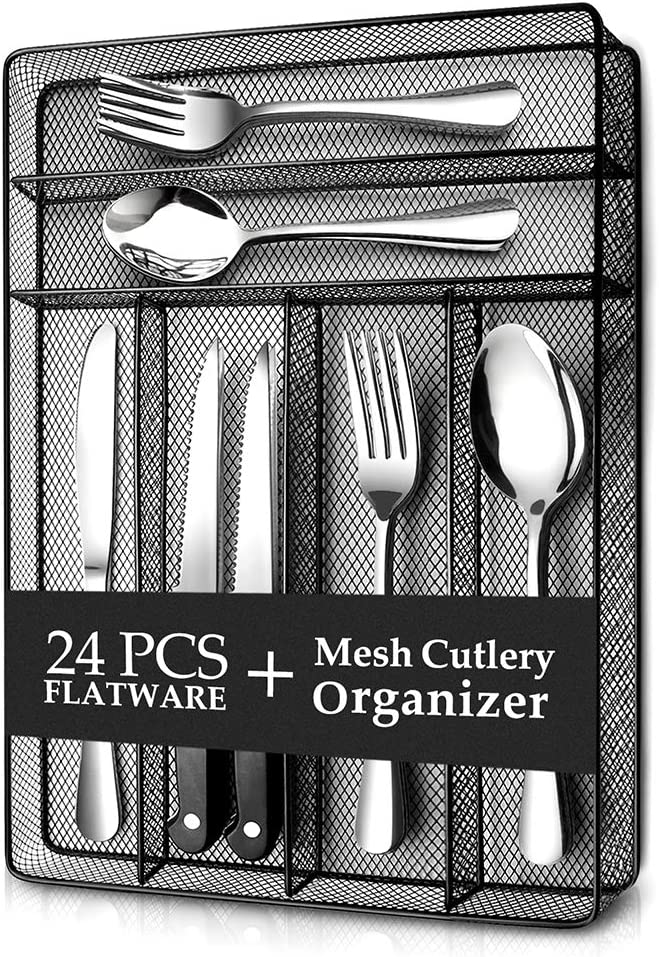 Teivio 24 Piece Silverware Set, Flatware Utensils Set Mirror Polished, Dishwasher Safe Service for 4, Include Knife/Fork/Spoon with 4 Steak Knife and Wire Mesh Steel Cutlery Holder Storage Trays