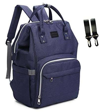 d4b83f0a57 Amazon.com : Diaper Bag Backpack Breast Pump Bag Baby Bag with Stroller  Straps (Dark Blue) : Baby
