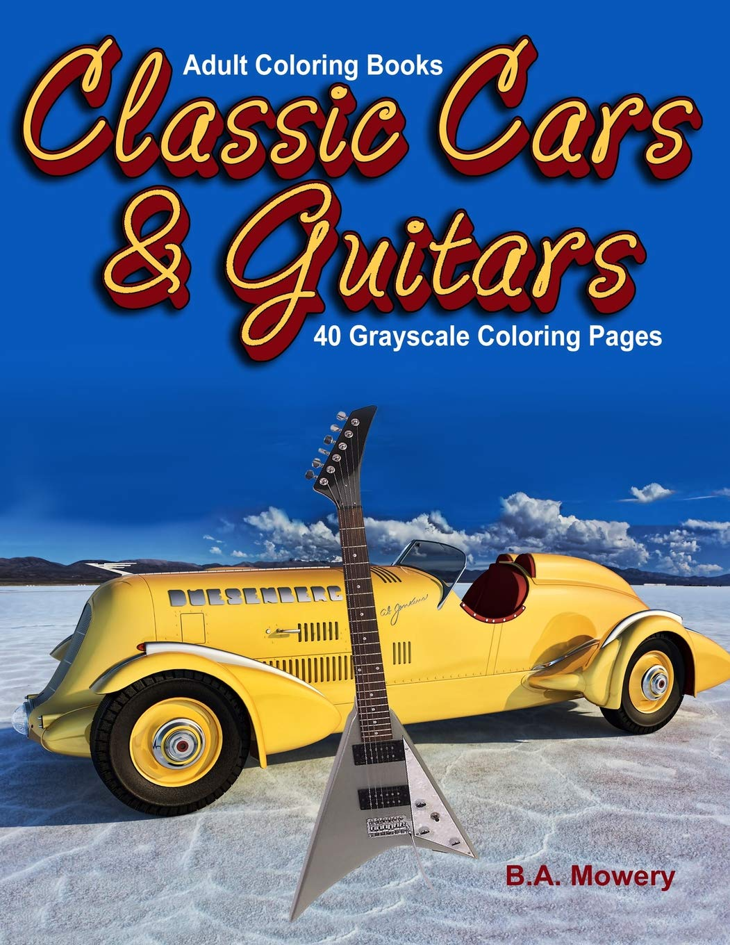 Amazon Adult Coloring Books Classic Car And Guitars 40