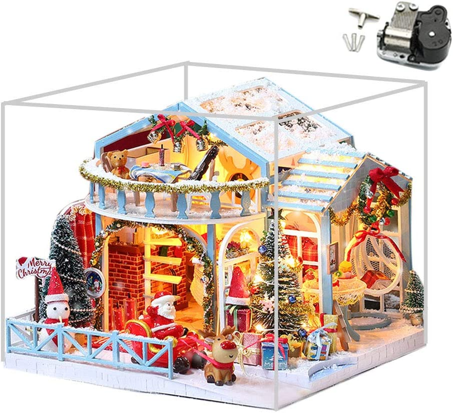 Gally 2020 New Christmas House Exquisite Luminous Resin Cottage Hut Decor Snow Village Houses Glowing Dollhouse Kit Christmas House with LED Light Source