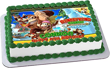 Phenomenal Amazon Com Donkey Kong Country Edible Cake Image Topper Funny Birthday Cards Online Amentibdeldamsfinfo