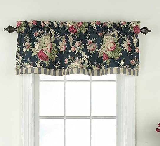 WAVERLY Sanctuary Rose 60 x 18 Short Valance Small Window Curtains Bathroom, Living Room and Kitchens, Heritage Blue