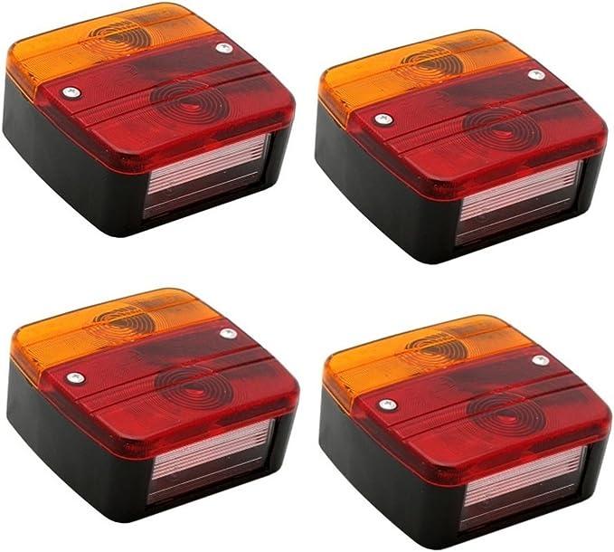 Hillfield 4 Stück Universal Rücklichter Rückleuchten Für Kfz Anhänger Komplett Mit Glühlampen 4 Rücklichter Auto