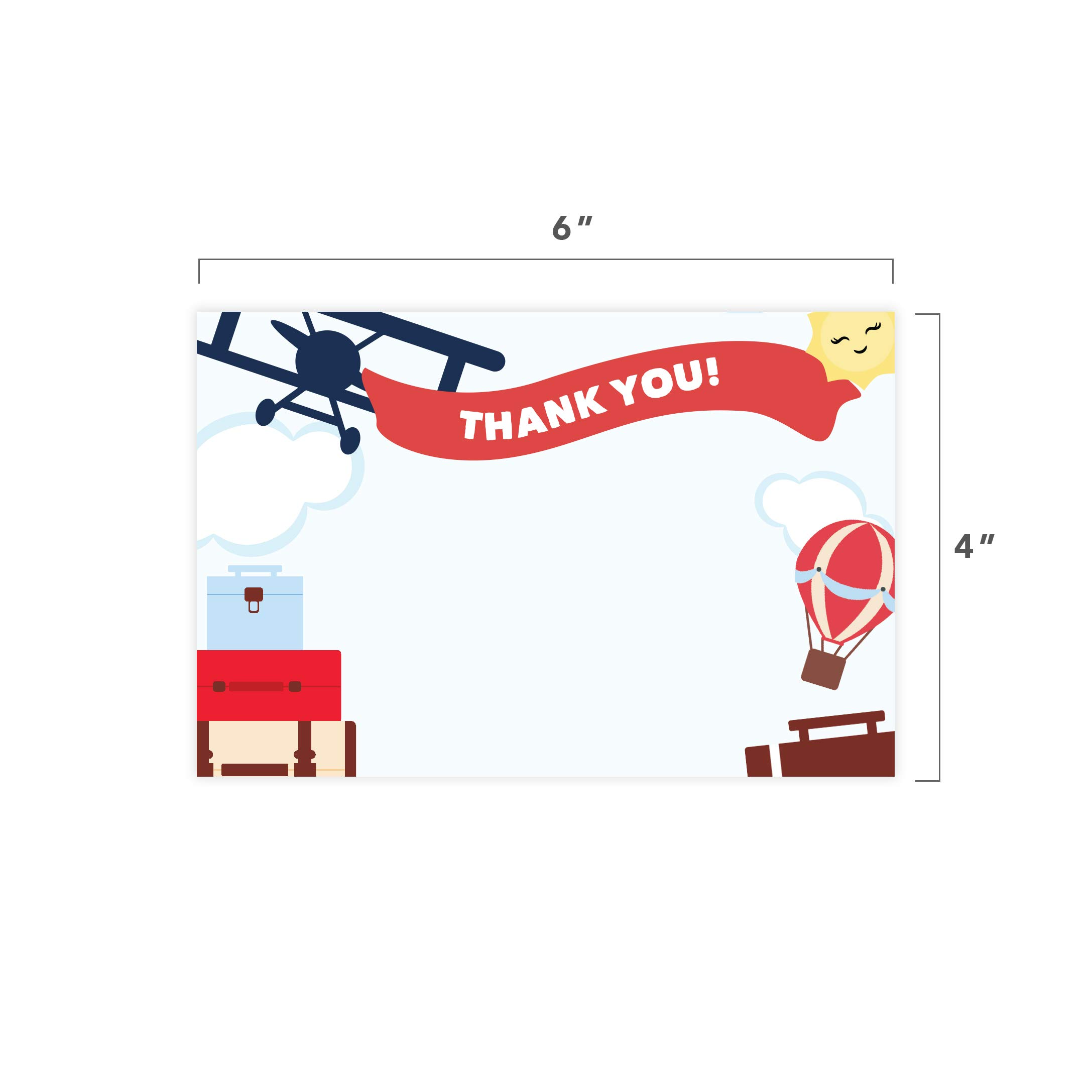 Airplane #1-25 Invitations & 25 Thank You Cards Combo Pack Happy Birthday Invite Cards With Envelopes & Seal Stickers Boys Girls Kids Party (Combo Pack) by Desert Cactus (Image #8)