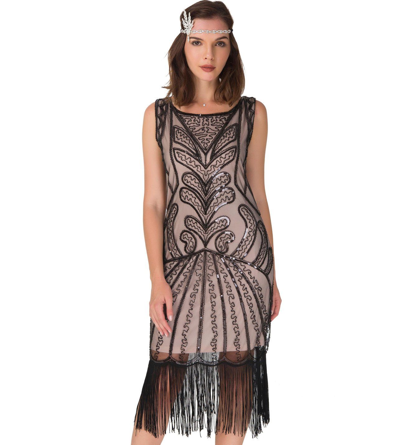 Uniq Sense Women's 1920s Flapper Dress - Fringe Vintage Great Gatsby Party Dress