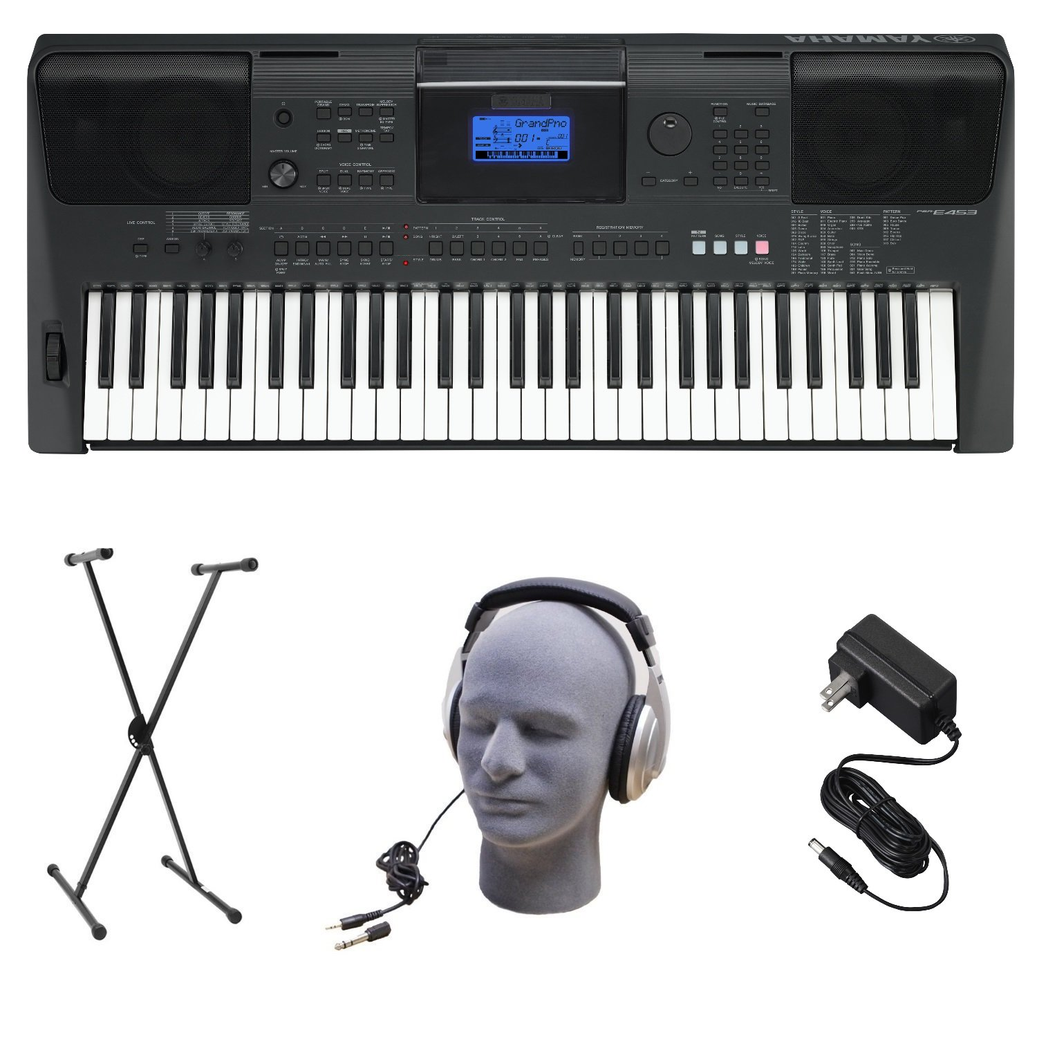 Yamaha PSRE453 Portable Keyboard with Headphones, Power Supply, & X-Style Stand