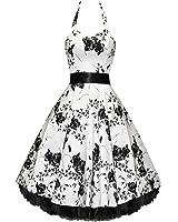Pretty Kitty Fashion 50s Weiß Schwarz Blume Neckholder Cocktail Kleid - JETZT bis Größe 54!