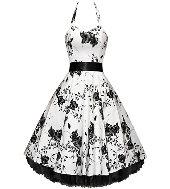 Pretty Kitty Fashion - Sexy blanco y negro floral de noche vestido de fiesta 8