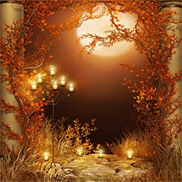 Lfeey 5x5ft Autumn Moon Night Backdrop Fall Park Vines Leaves Photography Background Halloween Burning Candles Photo Studio Props Vinyl Banner