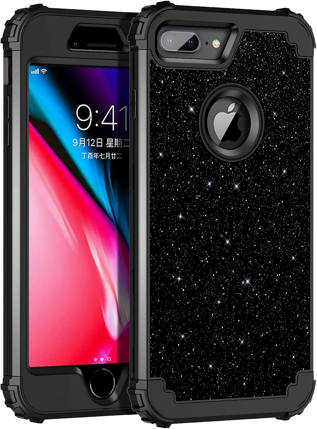 Lontect for iPhone 8 Plus Case, iPhone 7 Plus Case Glitter Sparkle Bling 3 in 1 Heavy Duty Hybrid Sturdy High Impact Shockproof Cover Case for Apple iPhone 8 Plus/7 Plus 5.5 inch, Black