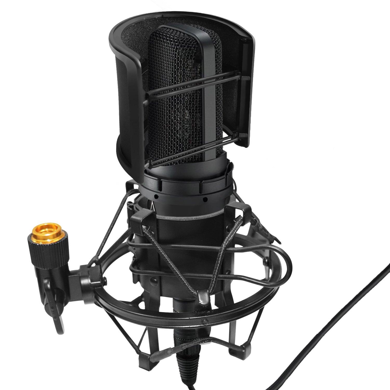 Heimelektronik Zubehör Mikrofonstativ Ordentlich Mikrofon Mic Professionelle Shock Mount Mit Pop Schild Filter Bildschirm