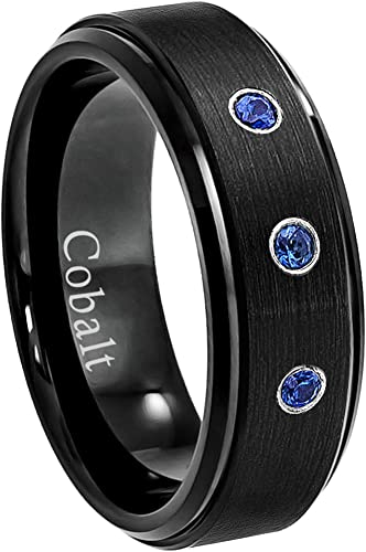 April Birthstone Ring 8MM Comfort Fit Matte 2-Tone Black /& Rose Gold Stepped Edge Tungsten Carbide Wedding Band Jewelry Avalanche 0.07ct Diamond Tungsten Ring