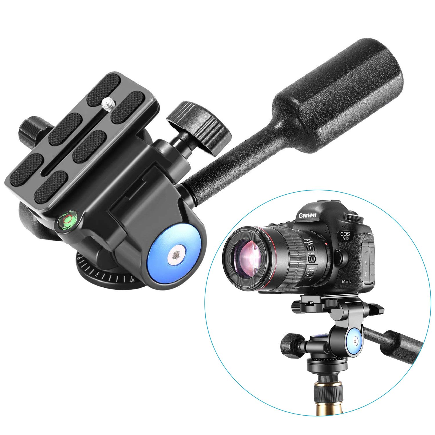Neewer Camera Tripod Handle Ball Head with 1/4'' QR Plate,3-Dimensional 360 Degree Rotation for Tripod,Slider,DSLR Camera,Camcorder,Load up to 22lbs by Neewer