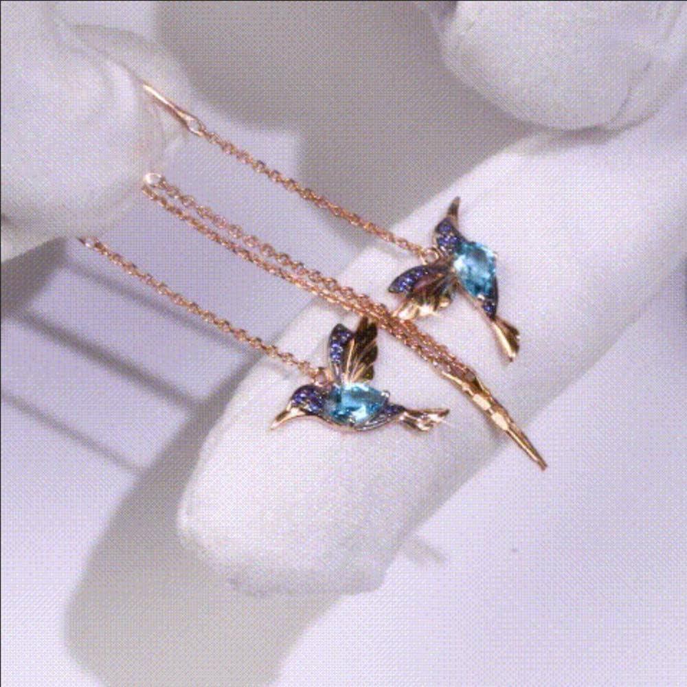 Argent Bleu EJY Mignon Zircon Cristal Chat Forme Collier Boucle doreille Set Lady Fille Cadeau