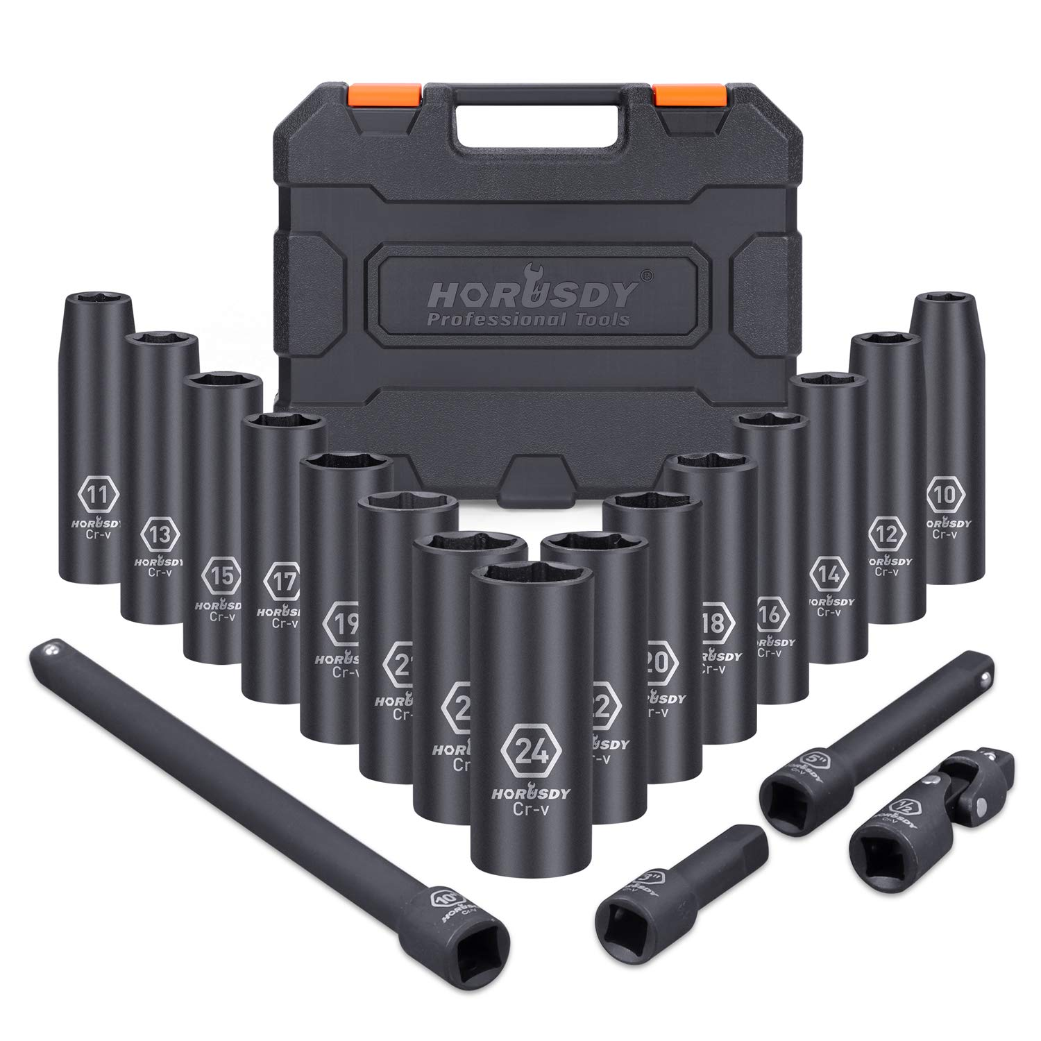 HORUSDY 1/2-Inch Drive Deep Impact Socket Set, 19-Piece 10mm - 24mm 6-Point Metric Drive Sockets Set by HORUSDY