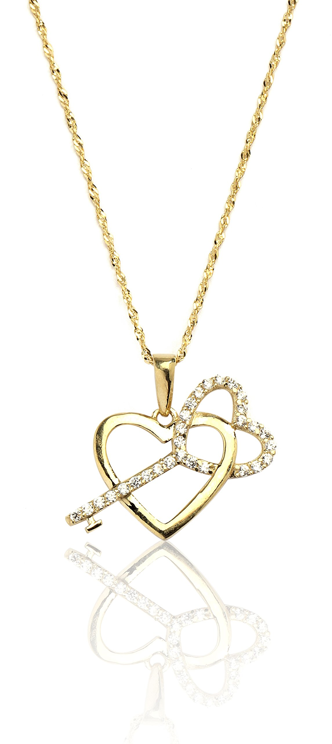 16'' 10k Yellow Gold Heart and Key Cubic Zirconia Charm Necklace for Women and Girls