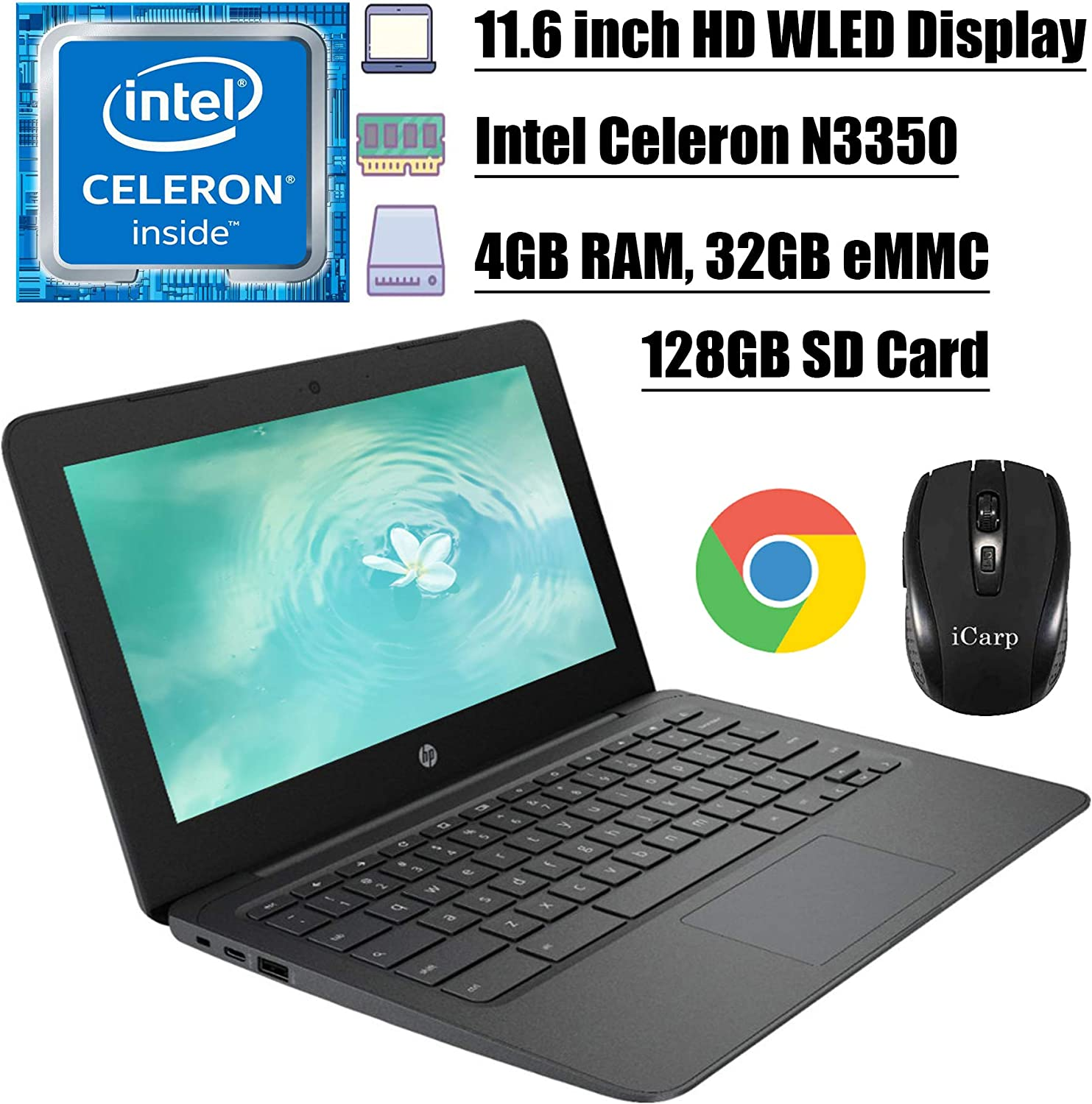 2020 Premium HP Chromebook 11 Latop Computer 11.6 inch HD WLED Display Intel Celeron Processor N3350 4GB DDR4 32GB eMMC + 128GB SD Card Type C Webcam WiFi Chrome OS + iCarp Wireless Mouse