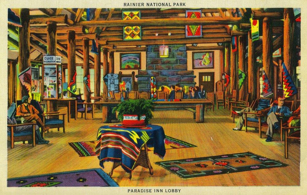 パラダイスInnロビー、Rainier National Park 24 x 36 Giclee Print LANT-1076-24x36 B017ZIO0ZA 24 x 36 Giclee Print