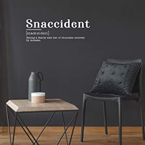 """Vinyl Art Wall Decal - Snaccident Eating A Family Size Bar of Chocolate Entirely by Mistake - 10.5"""" x 30"""" - Funny Food Jokes for Home Cafe Restaurant Eatery Dining Room Kitchen (10.5"""" x 30"""", White)"""