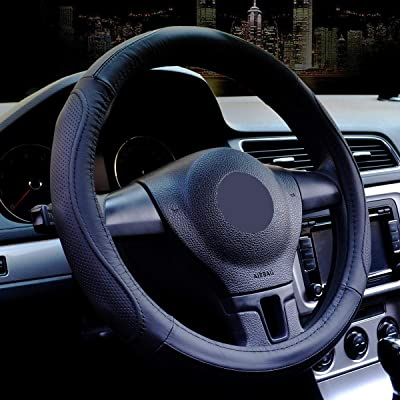 Leather Steering Wheel Cover Universal 15 Inches Microfiber,Breathable Anti Slip No Smell Comfort Durability Safety.Car Steering Wheel Cover. (Black steering wheel cover): Automotive