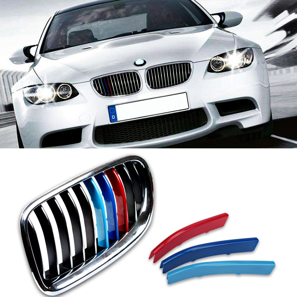 VANJING M-Colored Stripe Grille Insert Trims for BMW F14 F15 F16 5 Series 528i 535i 550i with M-Performance Black Kidney Grill