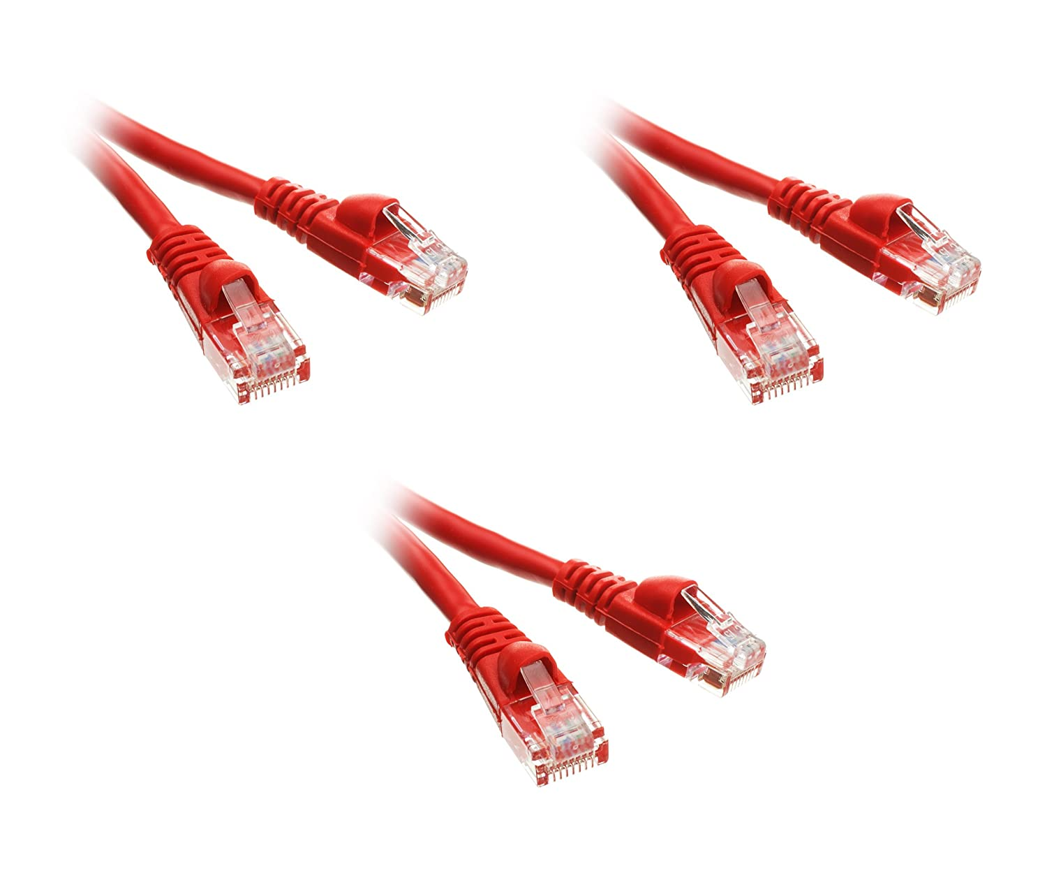 CNE51687 3-Pack 75 Foot Cat5e Snagless//Molded Boot Red Ethernet Patch Cable