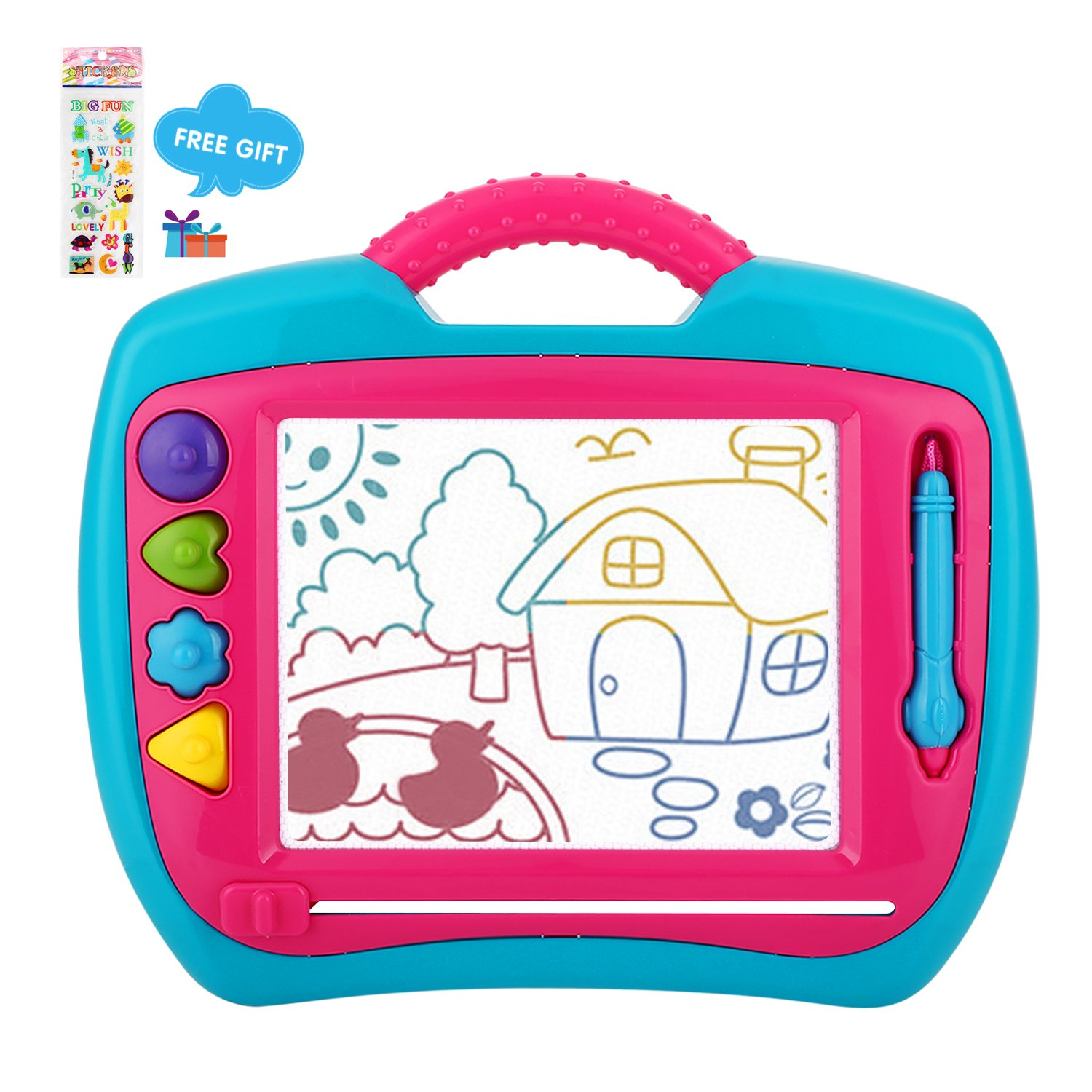 Peradix Doodle Magnetic Drawing Board Sketch Scribble Tablet Education Writing Drawing Painting Colorful Erasable Toy for Toddler Kids (BlueΠnk)
