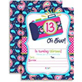 Camera Themed 13th Birthday Party Invitations For Girls Ten 5x7