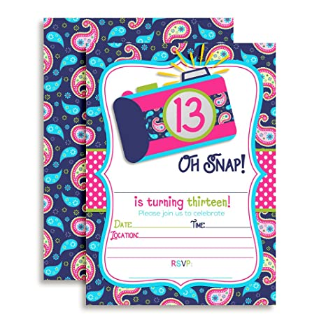 Amazon Oh Snap Camera Themed 13th Birthday Party Invitations