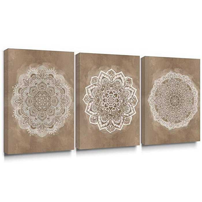 Takfot Canvas Wall Art for Bedroom Boho Decor Flower Canvas Paintings Brown and White Mandala Pictures Indian Artwork Prints Living Room Bathroom 12x16 inch, 3 Panels