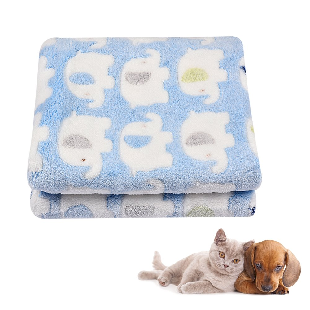 Multifunctional Pet Blanket Soft Cozy Coral Velvet Warm Blanket Cat Dog Bed Lines Bathing Towel with Cute Elephant Pattern for All Year Around Blue