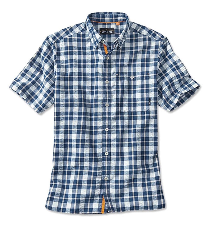 Pandapang Men Short Sleeve Plaid Top Summer Casual Business Shirts