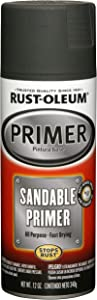 Rust-Oleum 249418 Automotive Sandable Primer Spray Paint, 12 Oz, Black