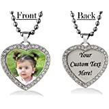 Personalized Heart Custom Photo Color and Engraved Dog Tag Necklace Pendant with 24 inch Stainless Steel Chain with velvet Giftpouch and Keyring (Silver Tone Heart CZ)