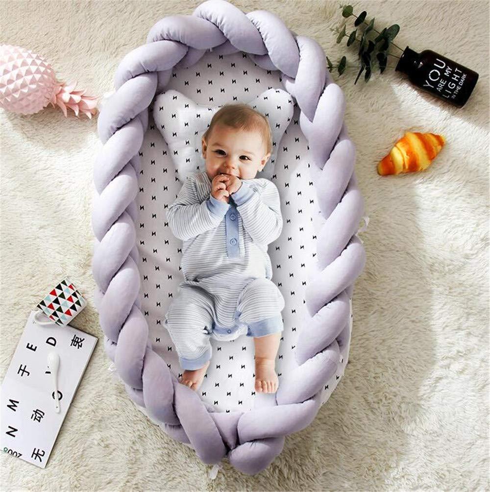 CULASIGN Babynestchen Babynest Nestchen 90x50cm Baby Ausstattung-Set Kuschelnest Herausnehmbarer Baby-Matratze Baby-Reisebett 100/% Baumwolle Blau