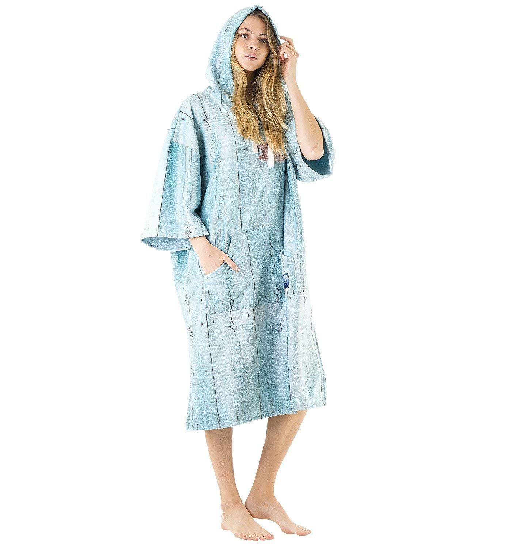 Vivida Lifestyle | Gedruckte Poncho mit Kapuze Handtuch und Umziehilfe am Strand, beim Surfen und Schwimmen verwendbar
