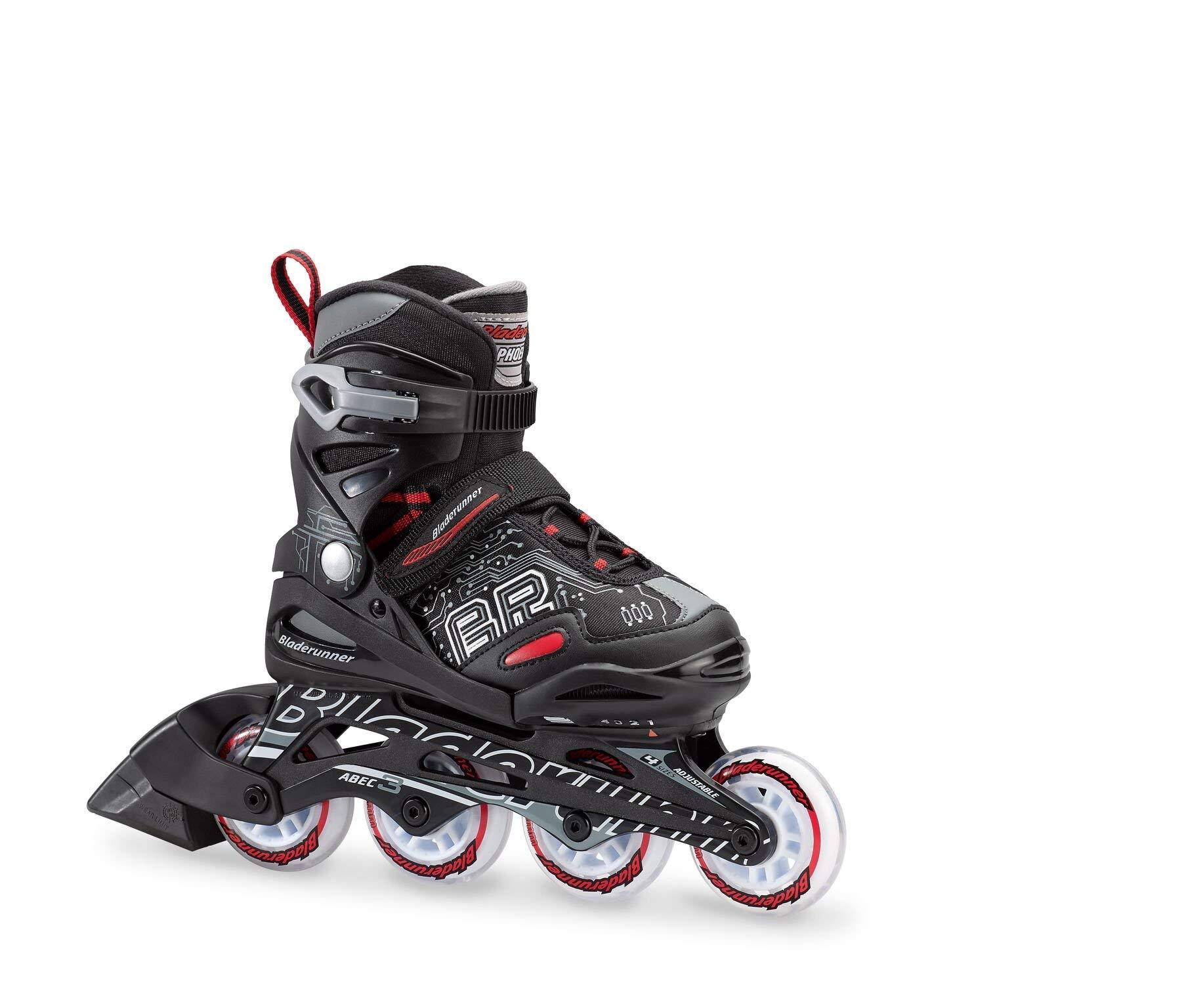 Bladerunner by Rollerblade Phoenix Boys Adjustable Fitness Inline Skate, Black and Red, Junior, Value Performance Inline Skates (Renewed)
