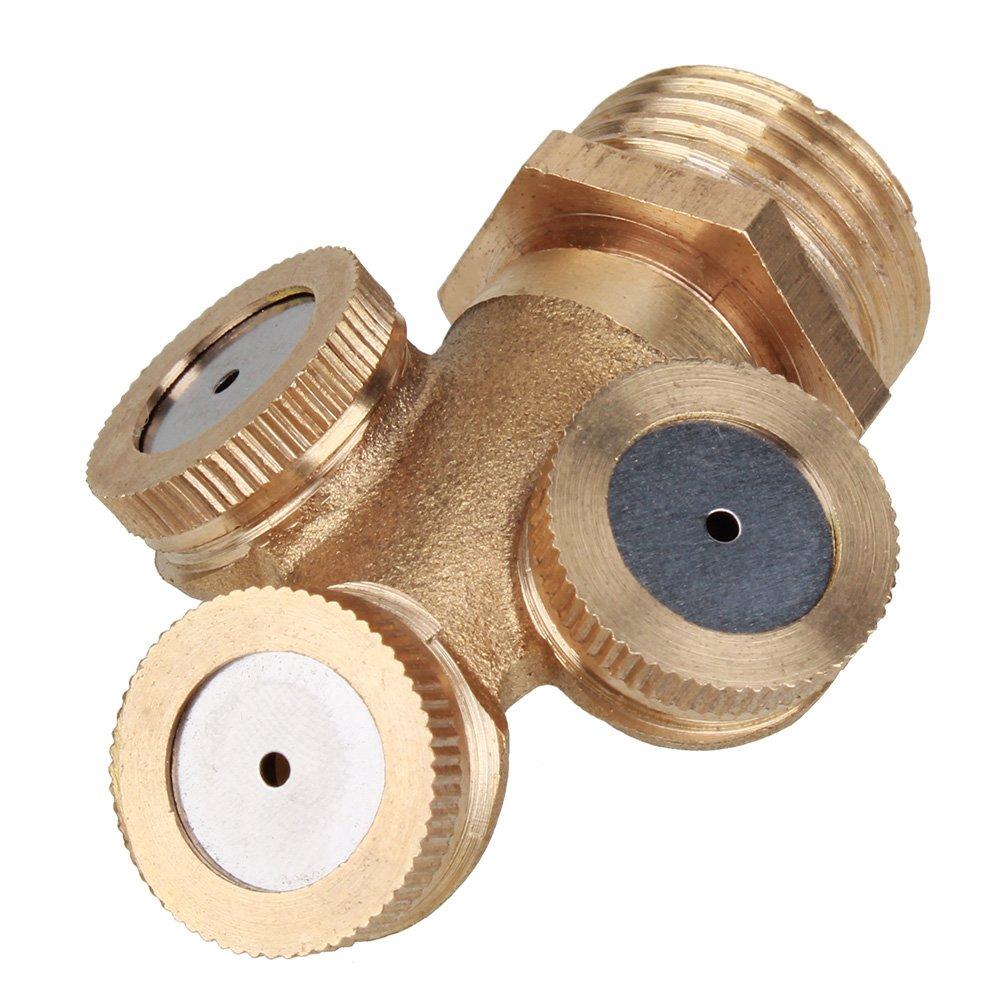 Mxfans Three Ways Sprayer Fountain Nozzle Garden Sprinkler Head 1/2'' Male Thread