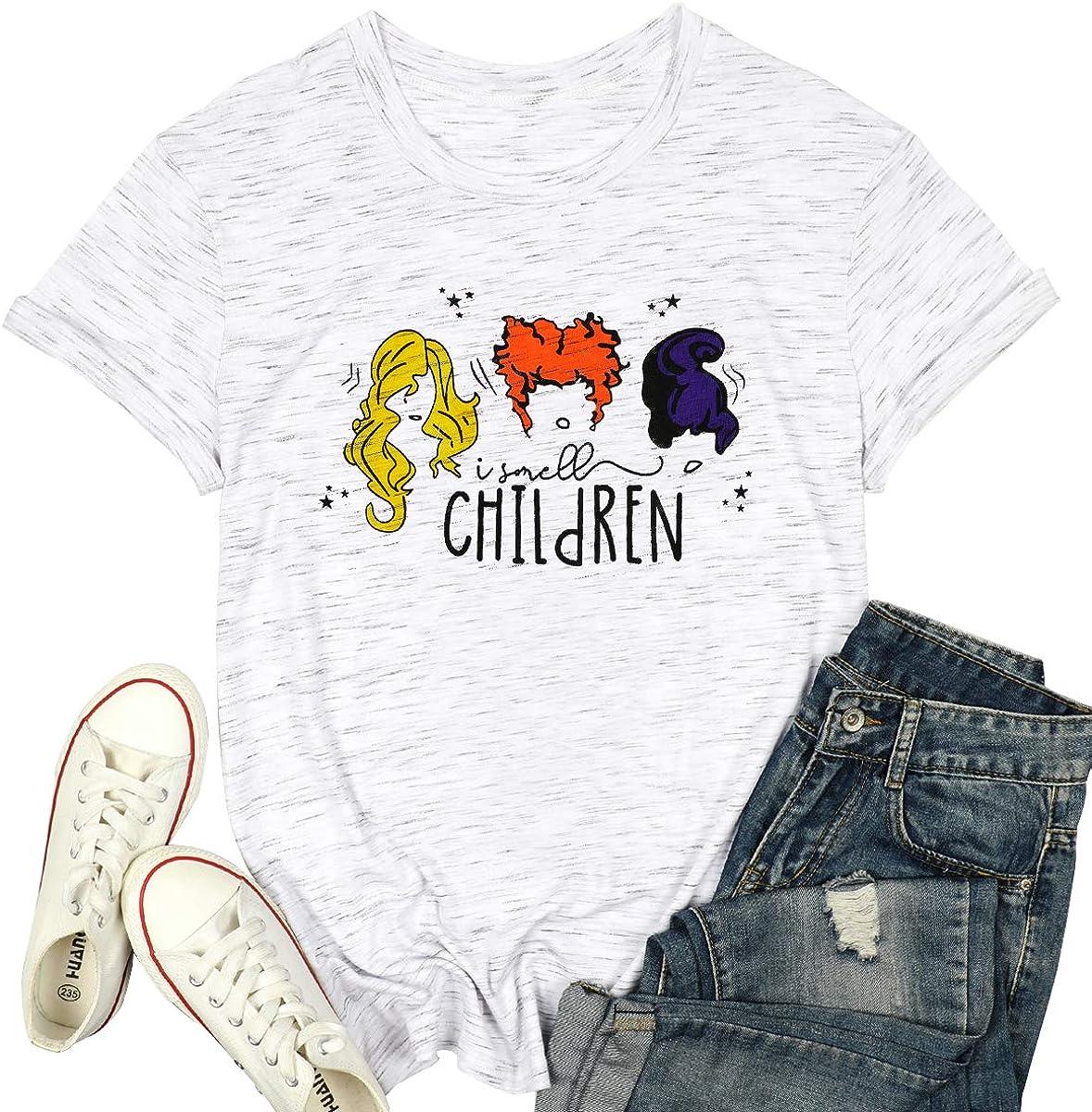 NANYUAYA I Smell Children Shirts Women Funny Halloween T Shirt Cute Sanderson Sisters Graphic Top Tee