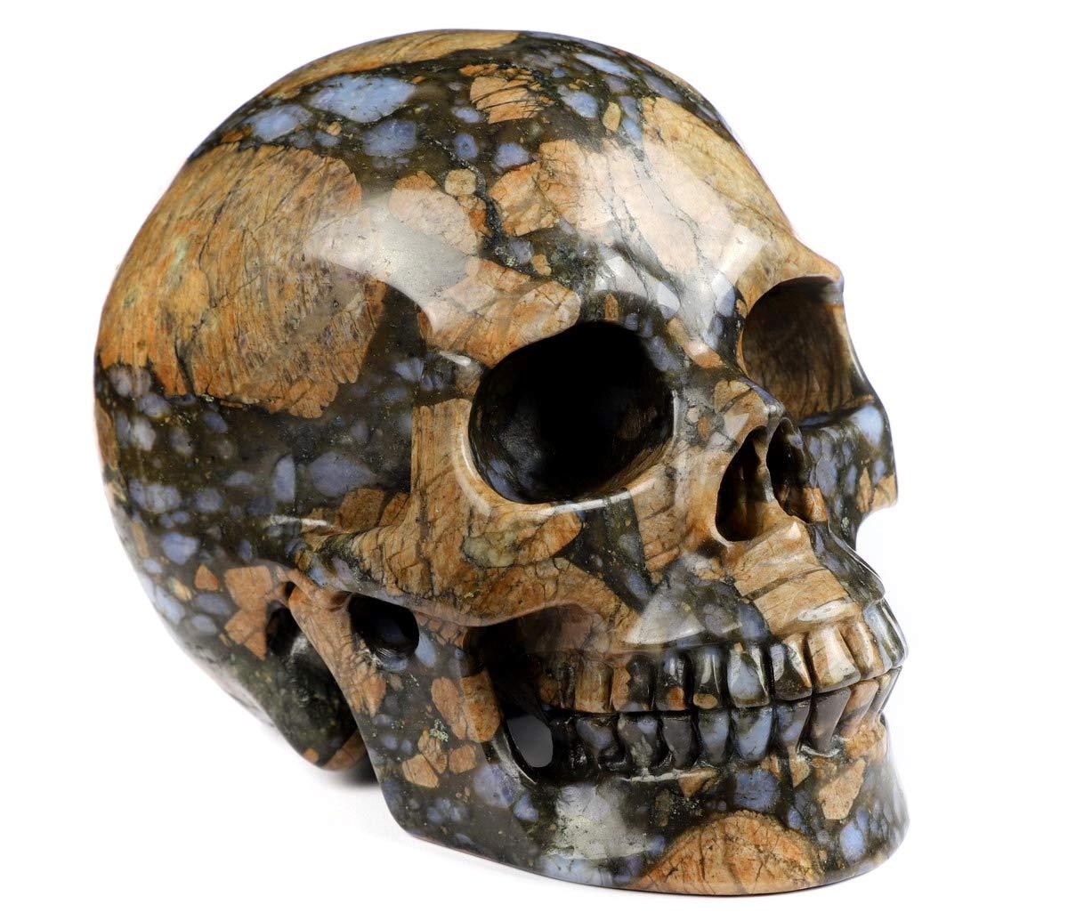 Skullis 5.0 Que Sera Stone Crystal Skull, Hand Carved Gemstone Fine Art Sculpture, Reiki Healing Stone Statue.