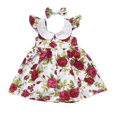 MetYoo Babys Kleid Marken-Sommer-Strand-Art-Blumendruck Backless ...