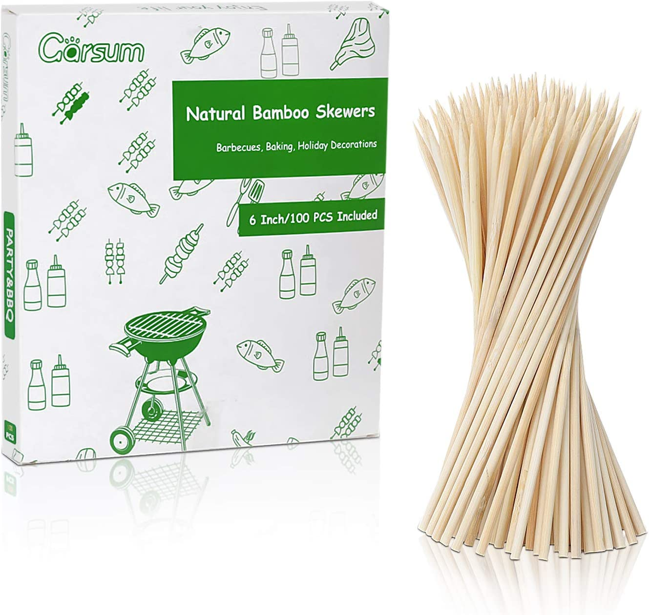 Garsum Natural BBQ Bamboo Skewers, Wooden Skewers for Assorted Fruits, Kebabs, Grill, Highly Renewable Natural Resources, Suitable for Kitchen, Party, Food Catering and Crafting 6