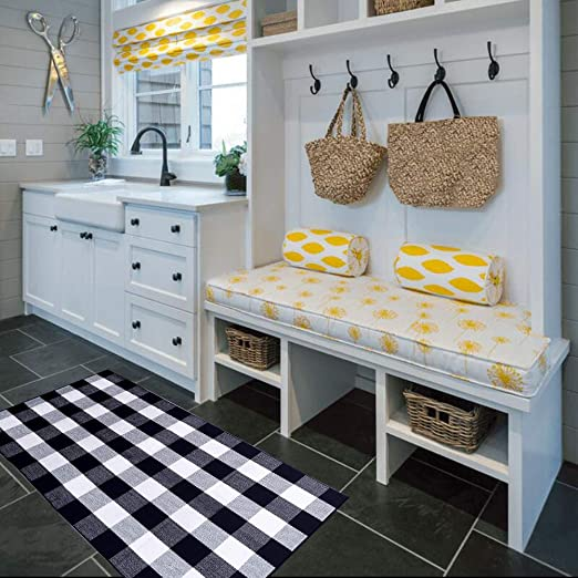 Lghome Buffalo Check Augs Black And Off White Cotton Area Rugs For Entry Way Front Door Area Mat Welcome Mat 3x5ft