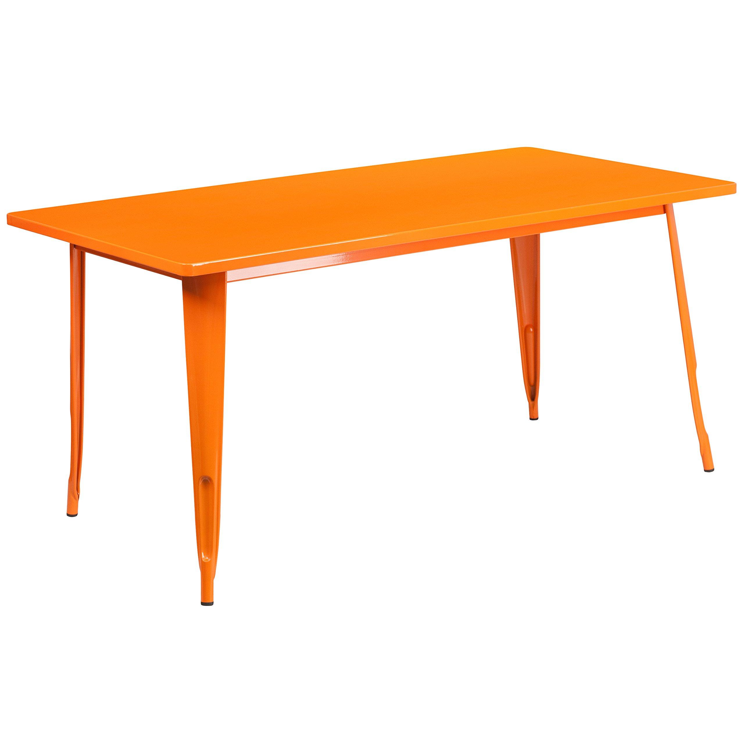 Flash Furniture 31.5'' x 63'' Rectangular Orange Metal Indoor-Outdoor Table