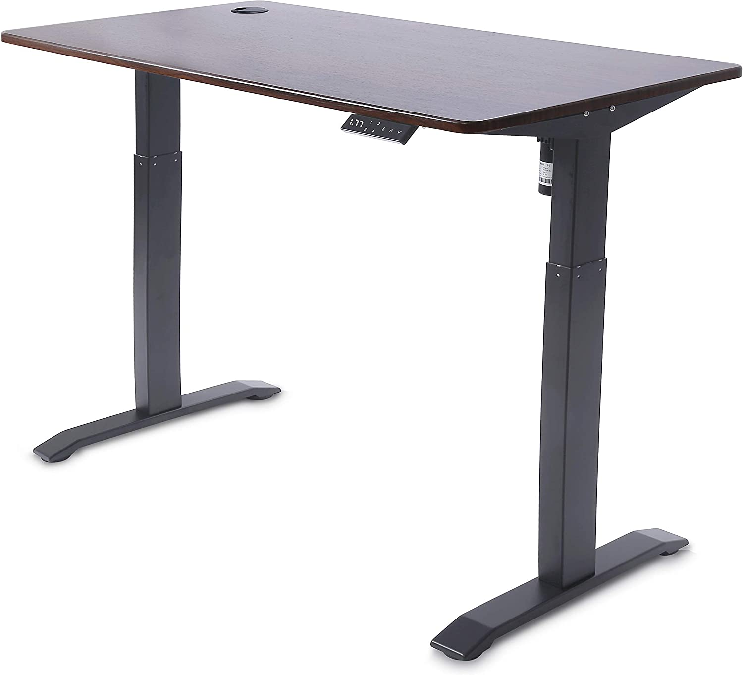 UNICOO - Electric Height Adjustable Standing Desk, Electric Standing Workstation Home Office Sit Stand Up Desk with 4 Pre-Set Memory Led Display Controller (Mahogany Top/Black Legs - Electric)