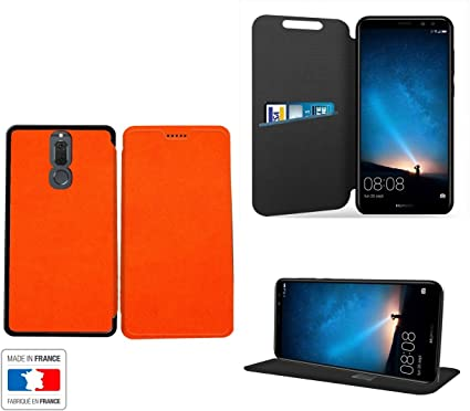 Huawei Mate 10 Lite Funda Piel Style Naranja Collection Exception Carcasa Cover con Stand – Multiples Funda